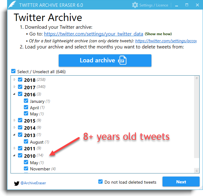 Twitter Archive Eraser: Delete Tweets, Favorites & Direct Messages